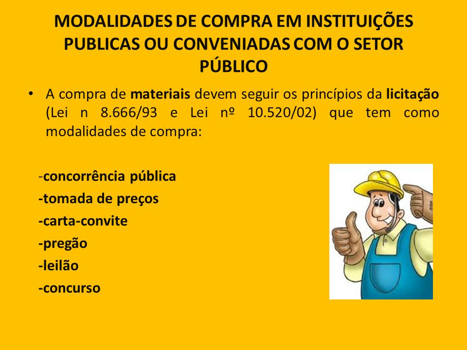 MODALIDADES DE COMPRA EM INSTITUIÇÕES PUBLICAS OU CONVENIADAS COM O SETOR PÚBLICO