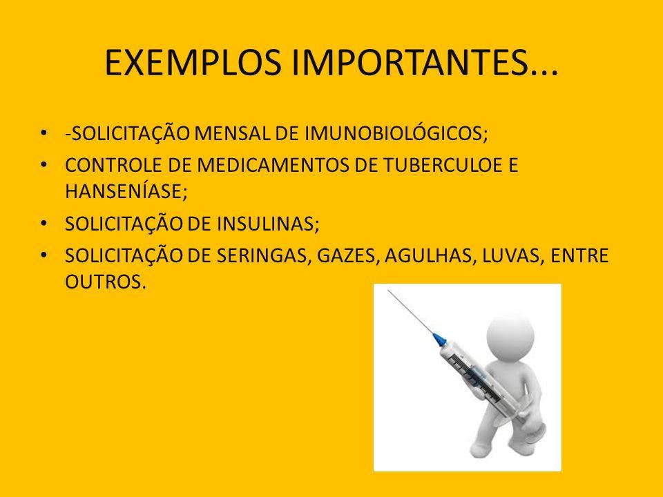 EXEMPLOS IMPORTANTES... -SOLICITAÇÃO MENSAL DE IMUNOBIOLÓGICOS;