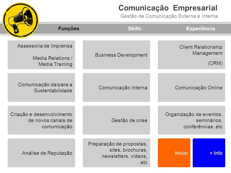 Funções Skills. Experiência. Assessoria de Imprensa. Media Relations / Media Training. Business Development.