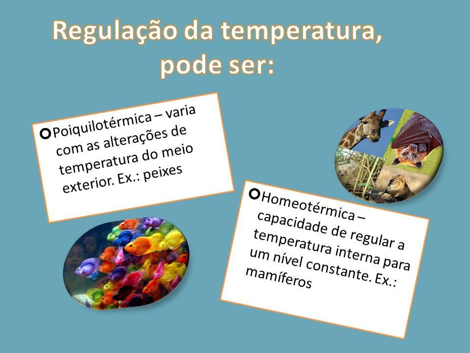 Regulação da temperatura, pode ser: