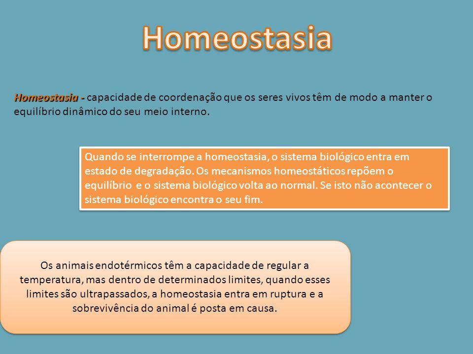 HomeostasiaHomeostasia - capacidade de coordenação que os seres vivos têm de modo a manter o equilíbrio dinâmico do seu meio interno.