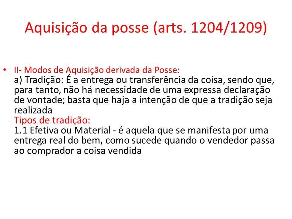 Aquisição da posse (arts. 1204/1209)