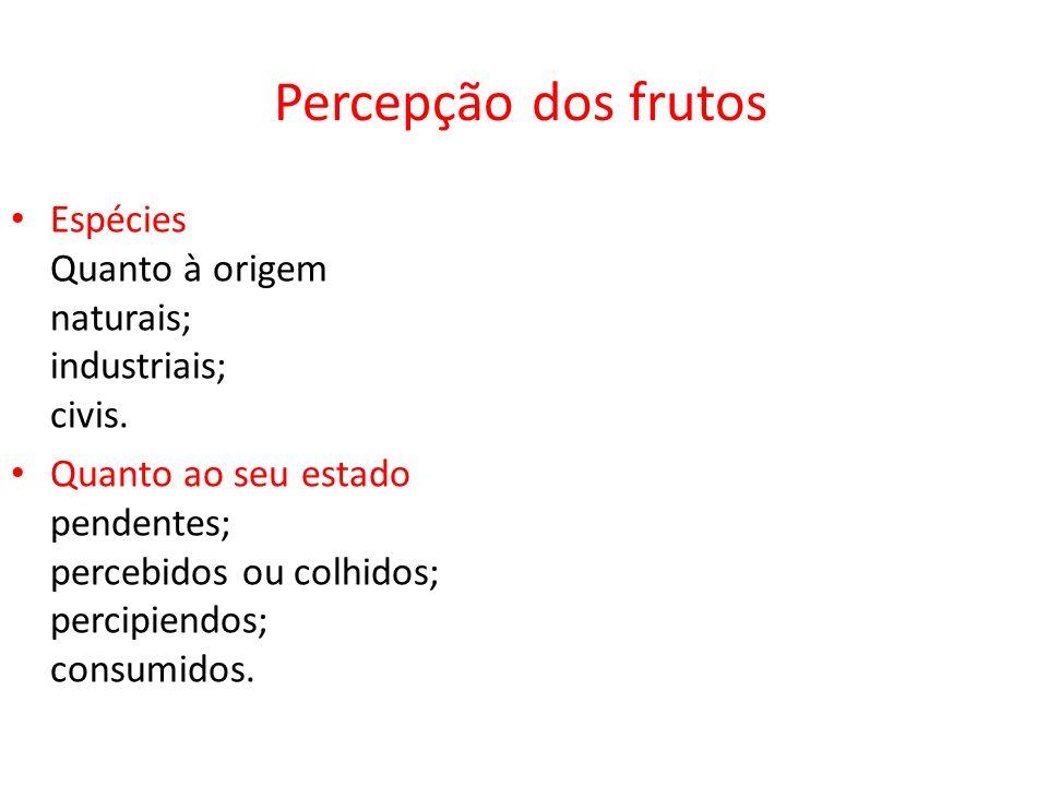 Percepção dos frutosEspécies Quanto à origem naturais; industriais; civis.