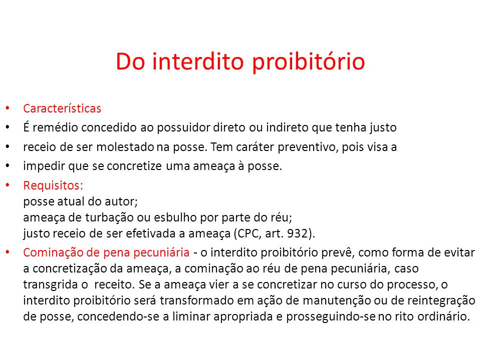 Do interdito proibitório