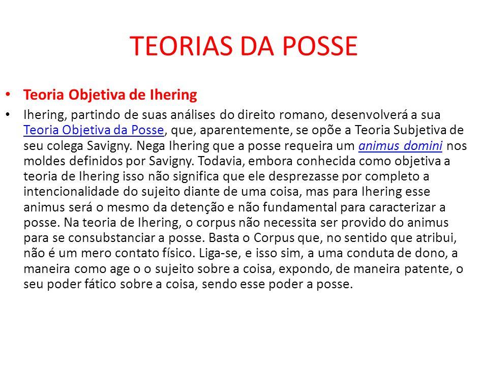 TEORIAS DA POSSE Teoria Objetiva de Ihering