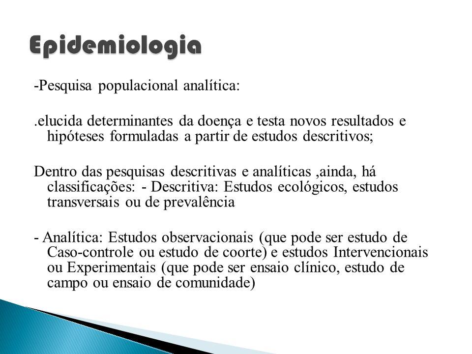 Epidemiologia -Pesquisa populacional analítica: