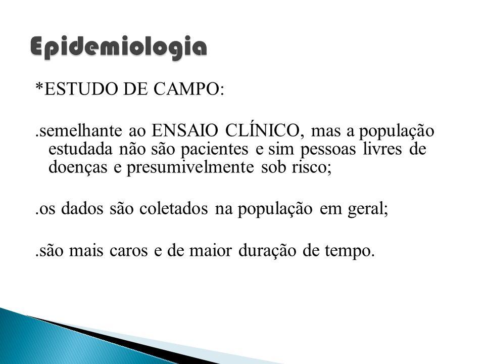 Epidemiologia *ESTUDO DE CAMPO: