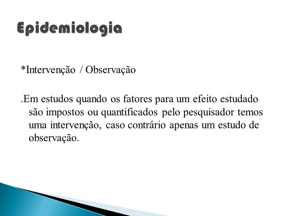 Epidemiologia *Intervenção / Observação