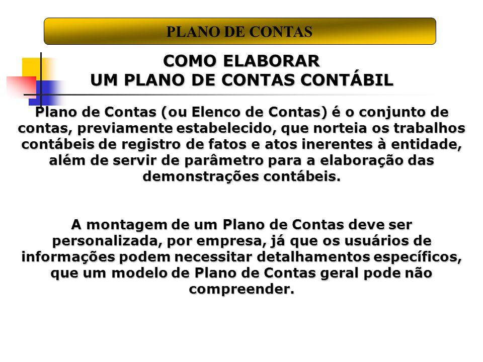 UM PLANO DE CONTAS CONTÁBIL