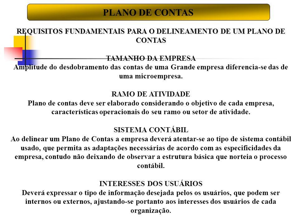 PLANO DE CONTAS REQUISITOS FUNDAMENTAIS PARA O DELINEAMENTO DE UM PLANO DE CONTAS. TAMANHO DA EMPRESA.