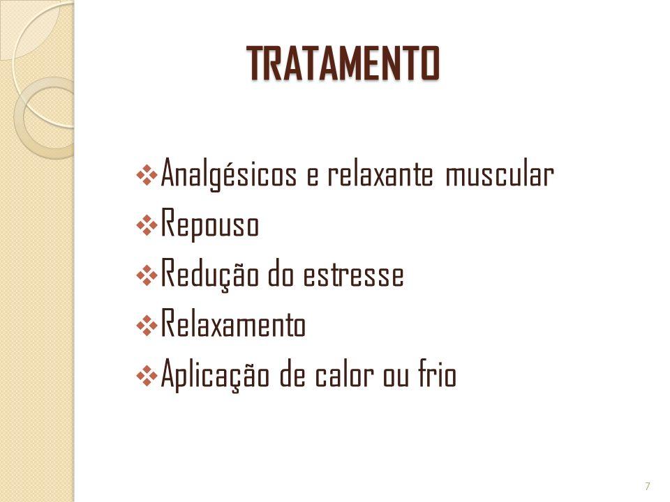 TRATAMENTO Analgésicos e relaxante muscular Repouso