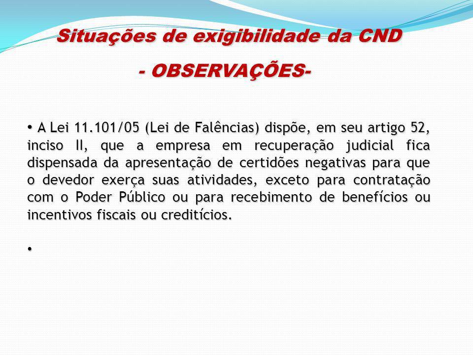 Situações de exigibilidade da CND