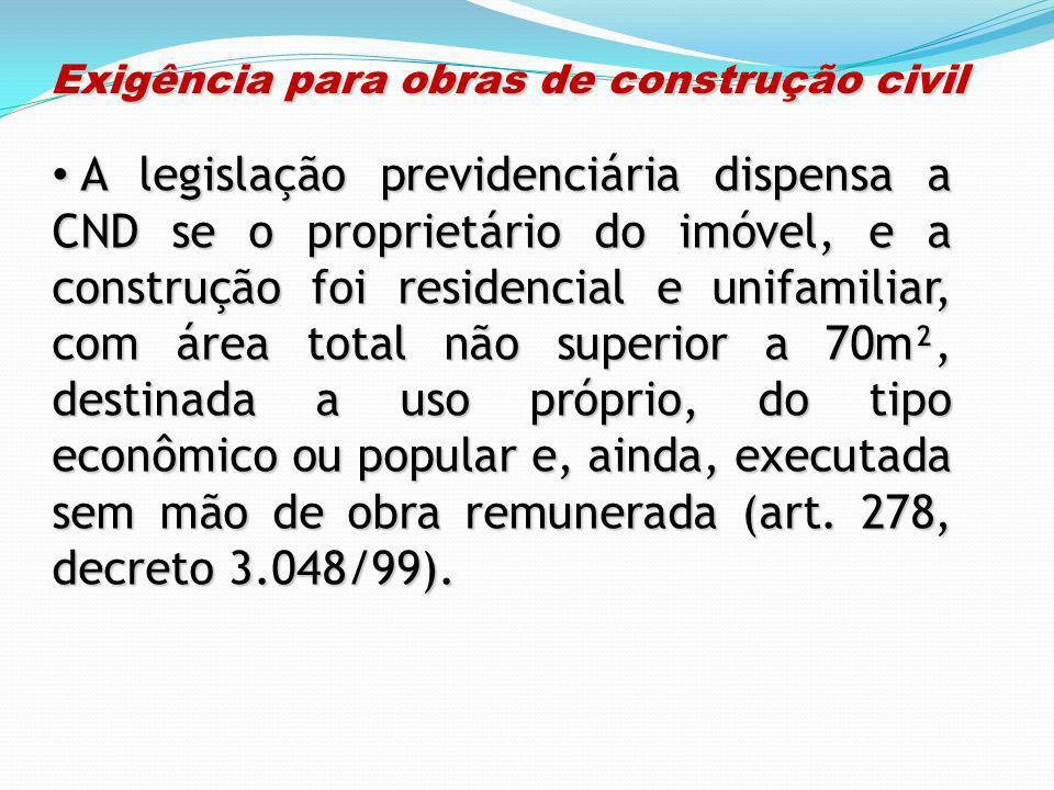 Exigência para obras de construção civil