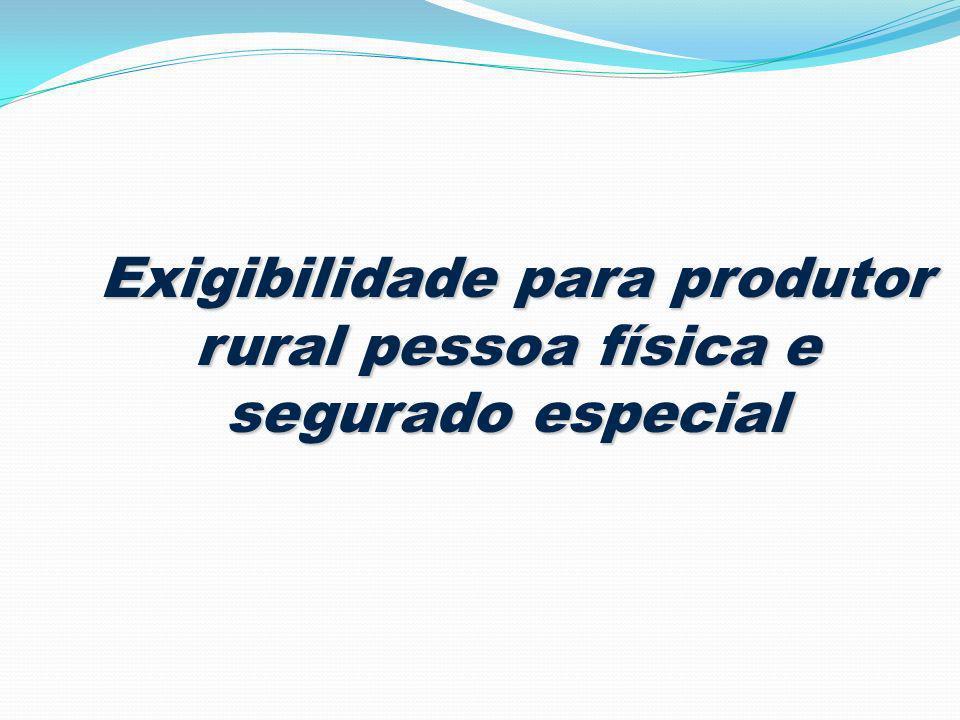 Exigibilidade para produtor rural pessoa física e segurado especial