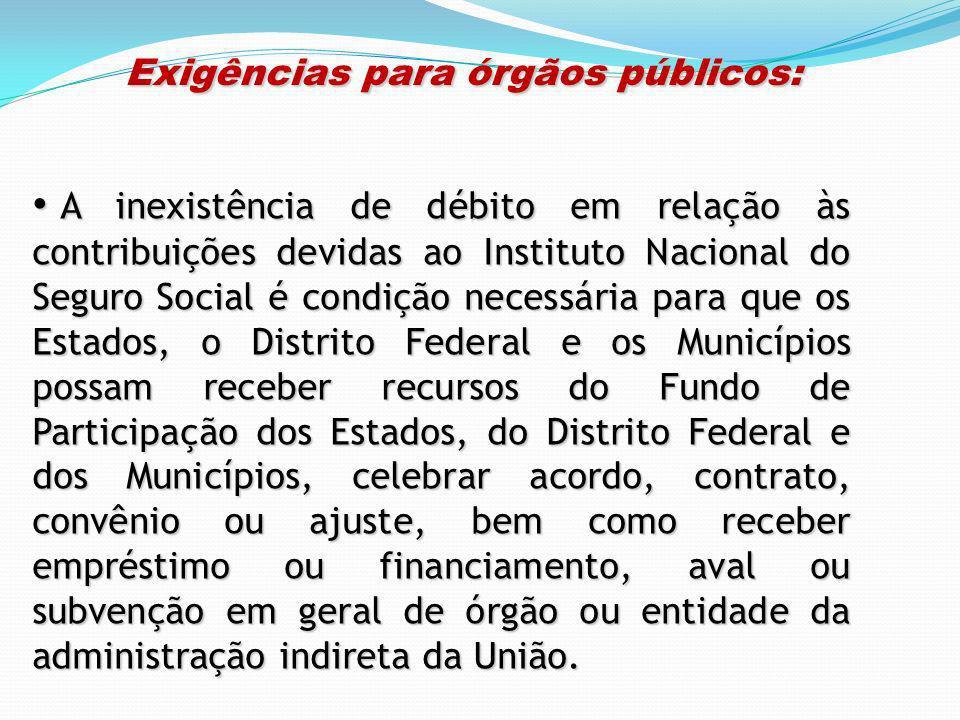 Exigências para órgãos públicos: