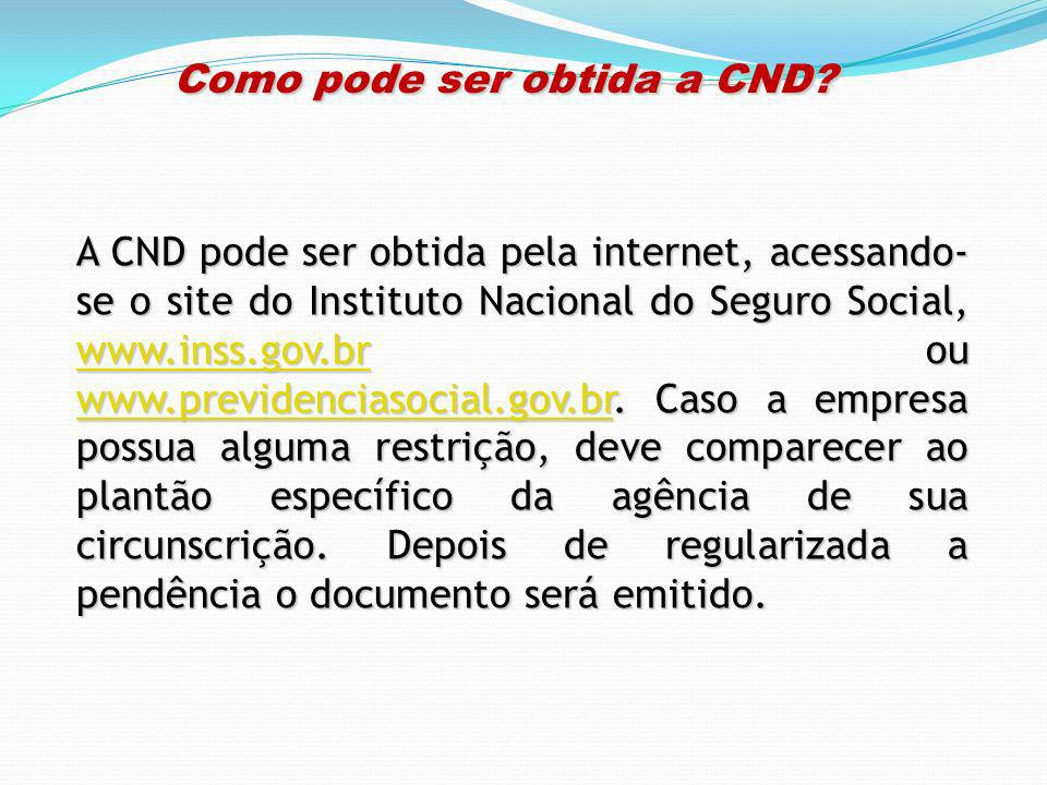 Como pode ser obtida a CND