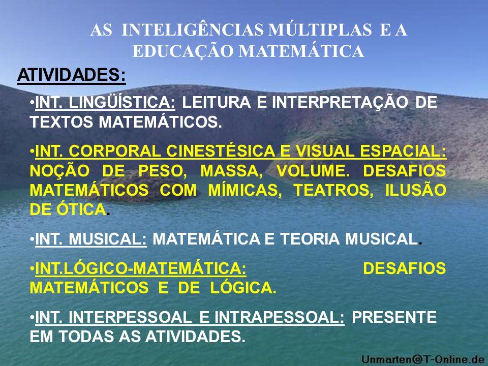 AS INTELIGÊNCIAS MÚLTIPLAS E A EDUCAÇÃO MATEMÁTICA