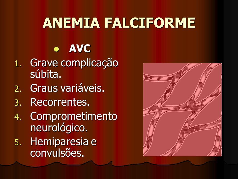 ANEMIA FALCIFORME AVC Grave complicação súbita. Graus variáveis.