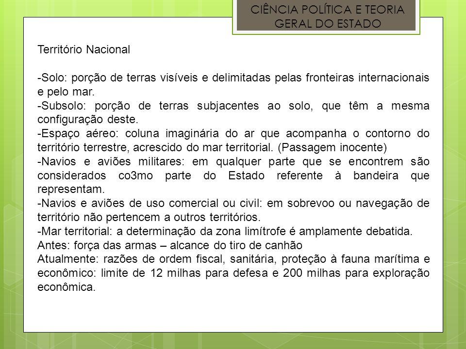 CIÊNCIA POLÍTICA E TEORIA GERAL DO ESTADO