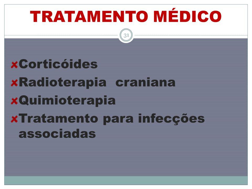 TRATAMENTO MÉDICO Corticóides Radioterapia craniana Quimioterapia