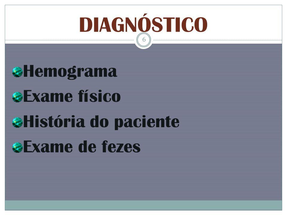 DIAGNÓSTICO Hemograma Exame físico História do paciente Exame de fezes