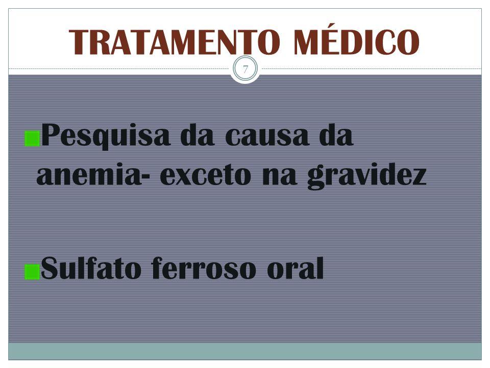 TRATAMENTO MÉDICO Pesquisa da causa da anemia- exceto na gravidez