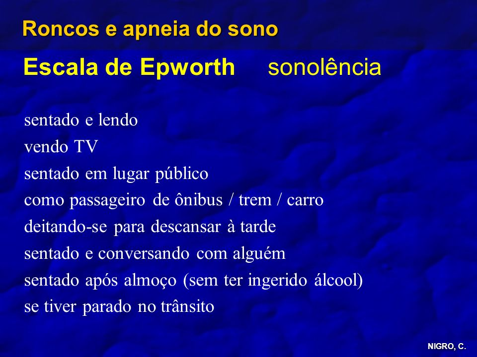 Escala de Epworth sonolência