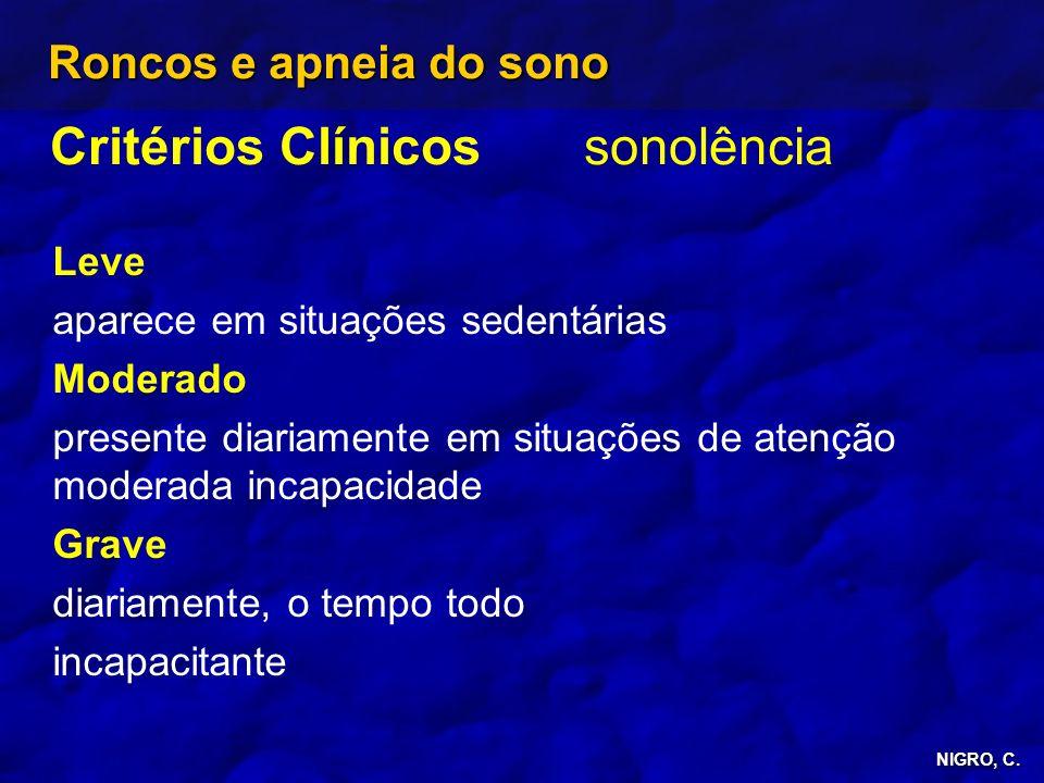 Critérios Clínicos sonolência