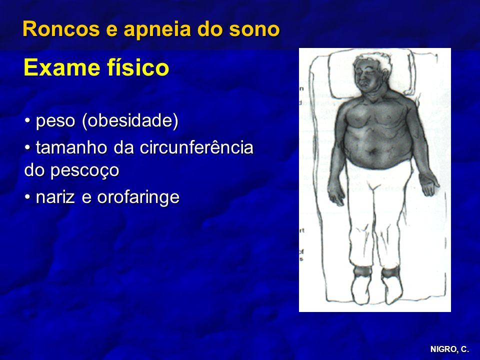 Exame físico Roncos e apneia do sono peso (obesidade)