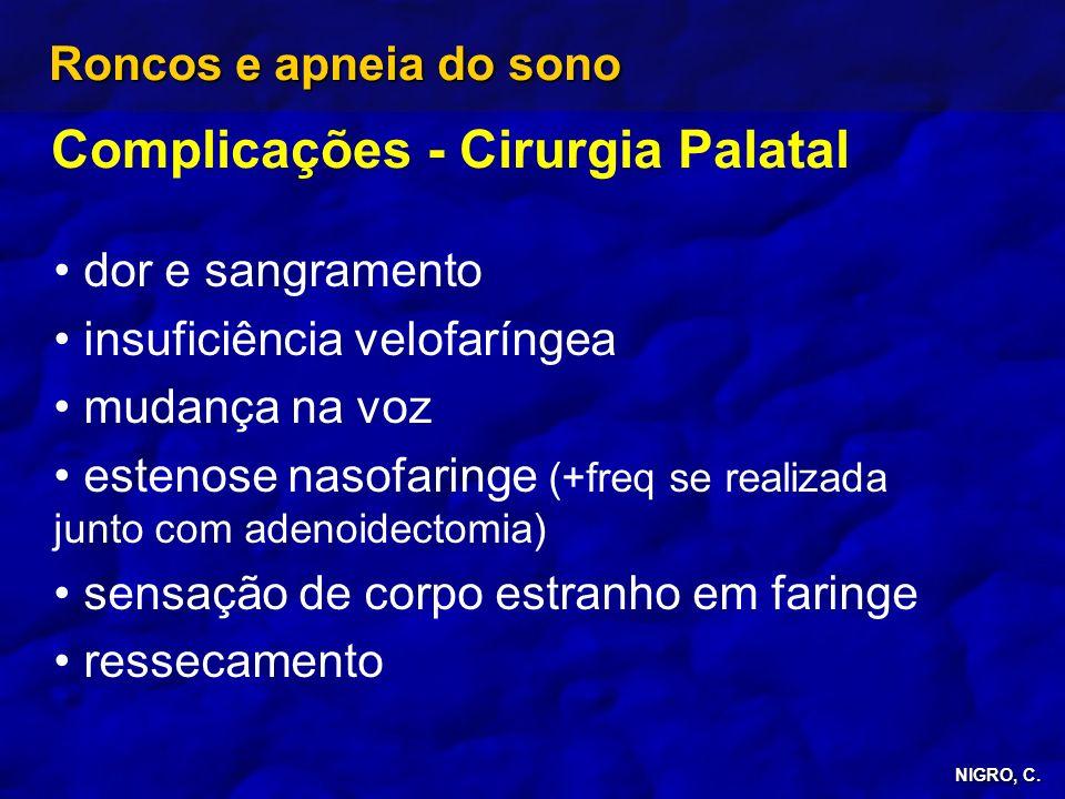Complicações - Cirurgia Palatal
