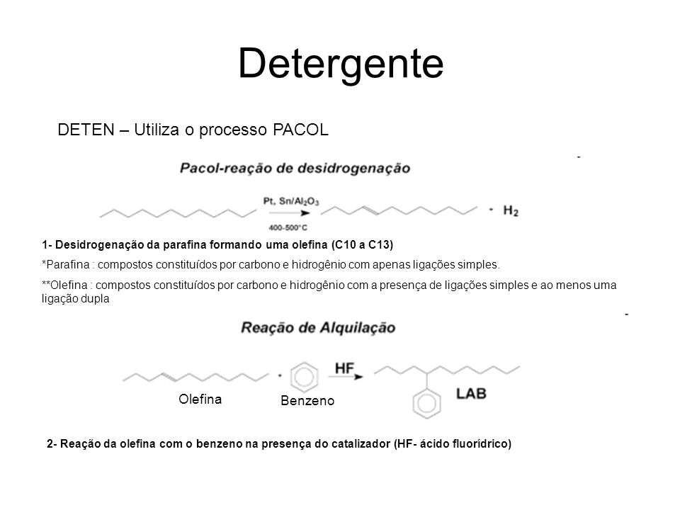 Detergente DETEN – Utiliza o processo PACOL Olefina Benzeno