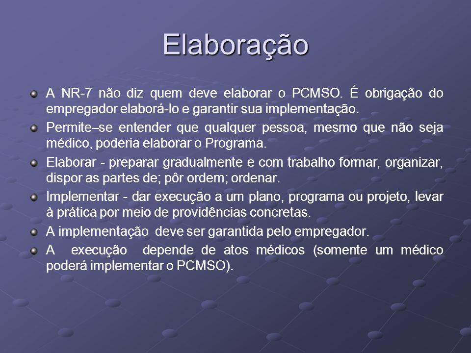 ElaboraçãoA NR-7 não diz quem deve elaborar o PCMSO. É obrigação do empregador elaborá-lo e garantir sua implementação.