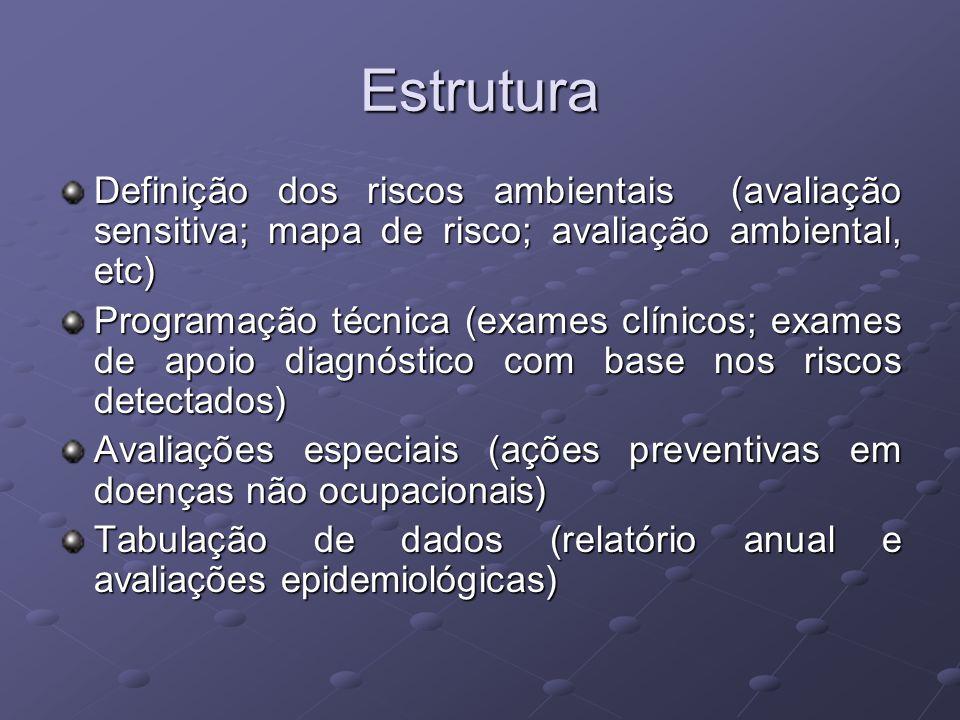 Estrutura Definição dos riscos ambientais (avaliação sensitiva; mapa de risco; avaliação ambiental, etc)