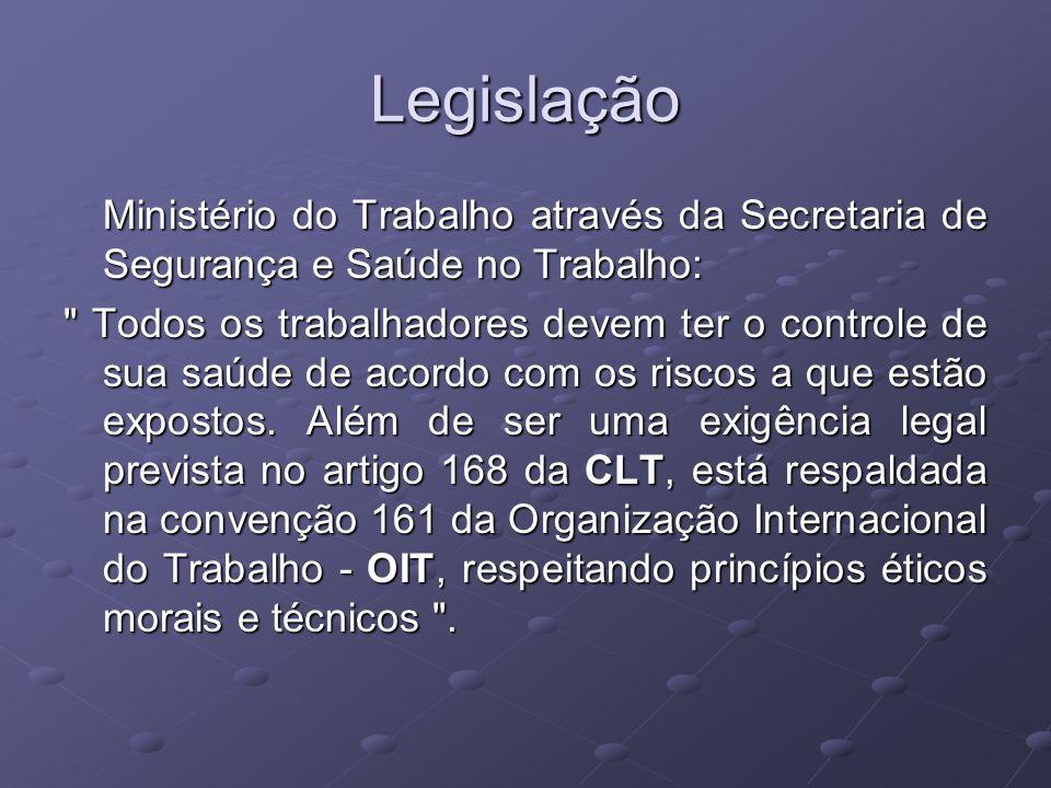 LegislaçãoMinistério do Trabalho através da Secretaria de Segurança e Saúde no Trabalho: