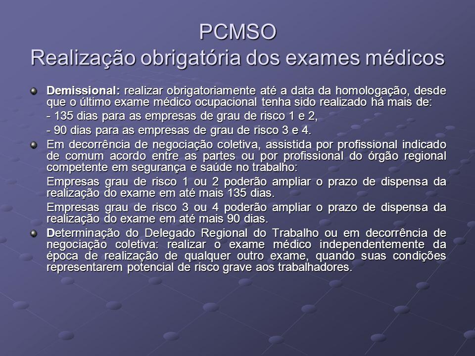 PCMSO Realização obrigatória dos exames médicos