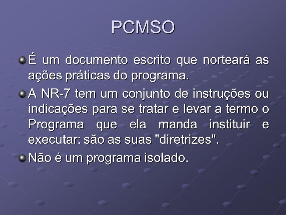 PCMSOÉ um documento escrito que norteará as ações práticas do programa.