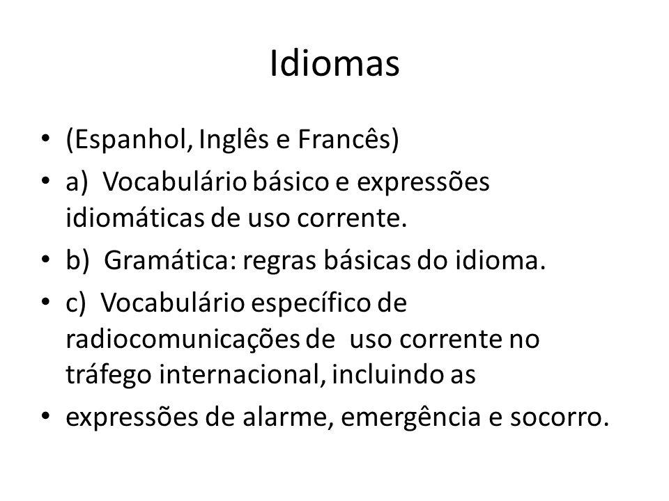 Idiomas (Espanhol, Inglês e Francês)