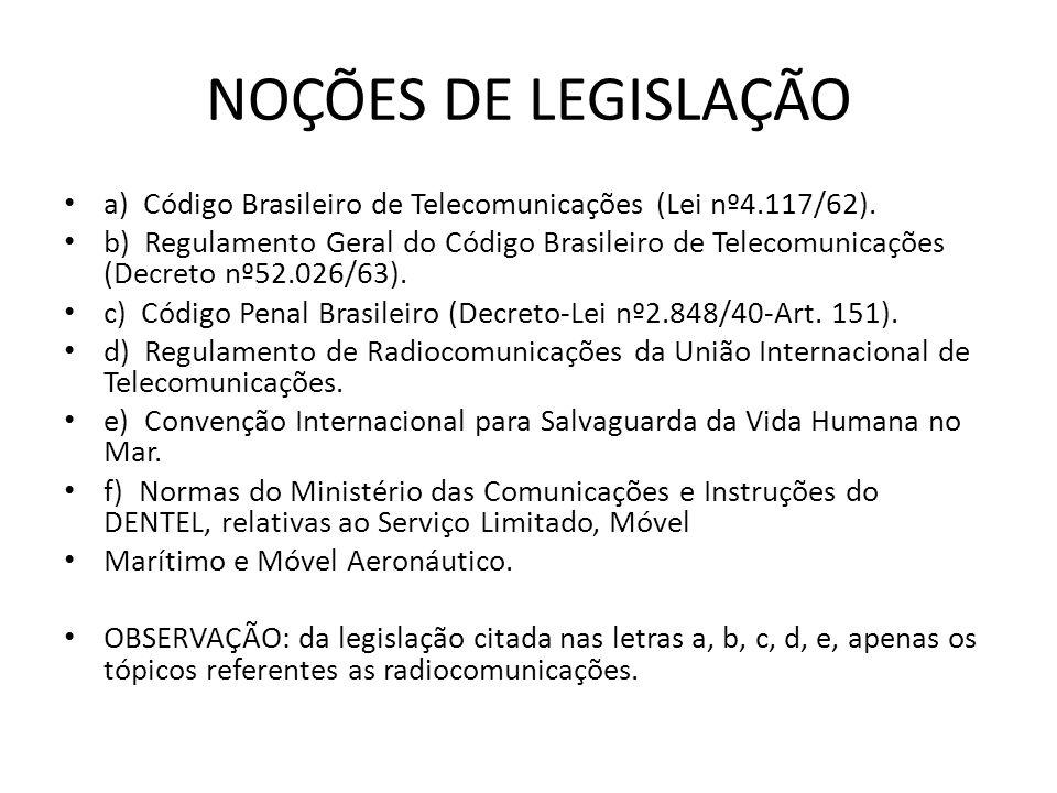 NOÇÕES DE LEGISLAÇÃO a) Código Brasileiro de Telecomunicações (Lei nº4.117/62).