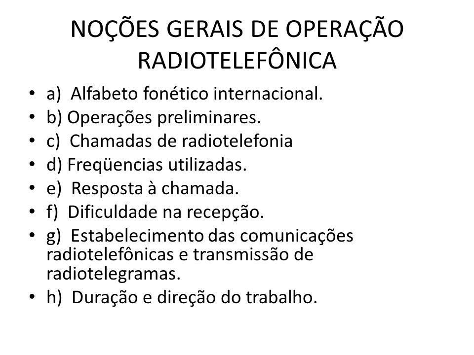 NOÇÕES GERAIS DE OPERAÇÃO RADIOTELEFÔNICA