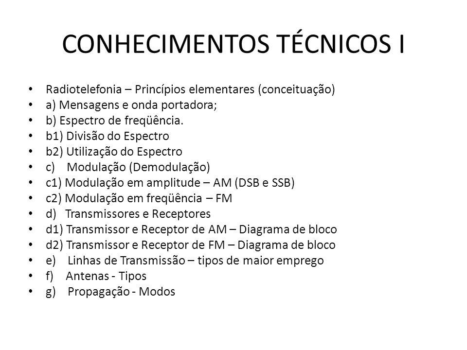 CONHECIMENTOS TÉCNICOS I