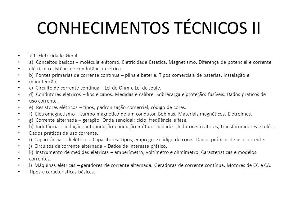 CONHECIMENTOS TÉCNICOS II