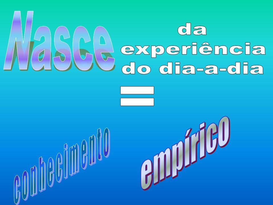 Nasce da experiência do dia-a-dia = empírico conhecimento