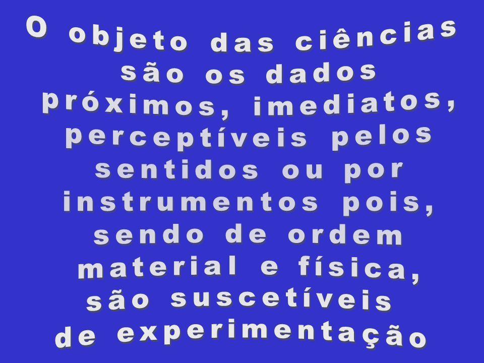 O objeto das ciênciassão os dados. próximos, imediatos, perceptíveis pelos. sentidos ou por. instrumentos pois,