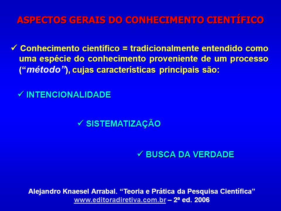 ASPECTOS GERAIS DO CONHECIMENTO CIENTÍFICO