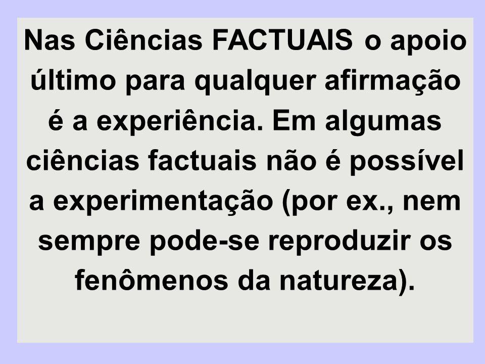 Nas Ciências FACTUAIS o apoio último para qualquer afirmação é a experiência.