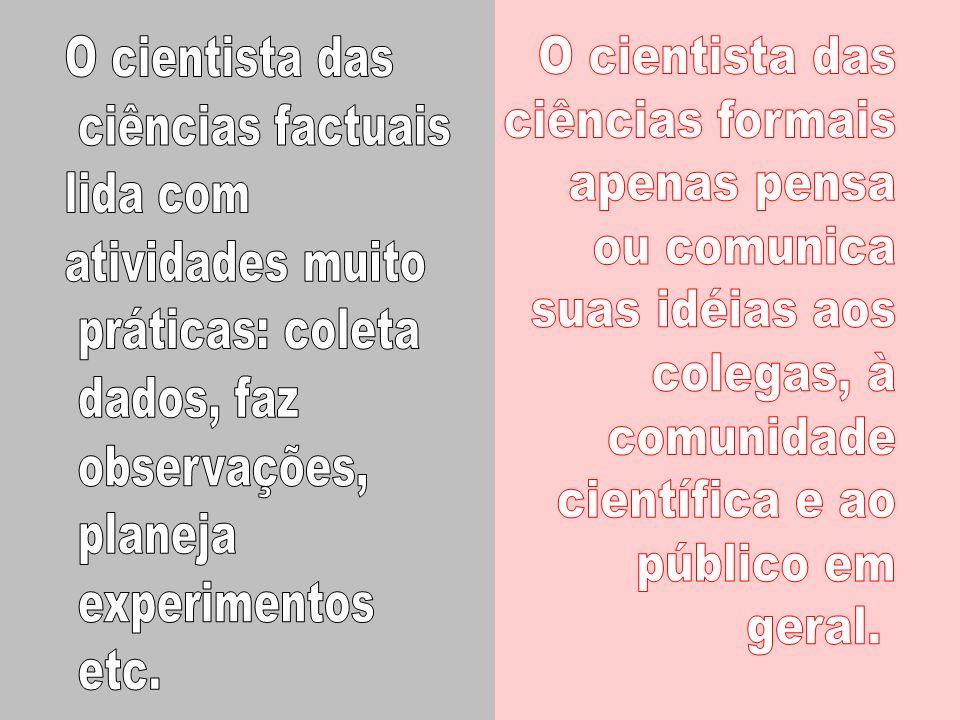 O cientista das ciências factuais. lida com. atividades muito. práticas: coleta. dados, faz. observações,