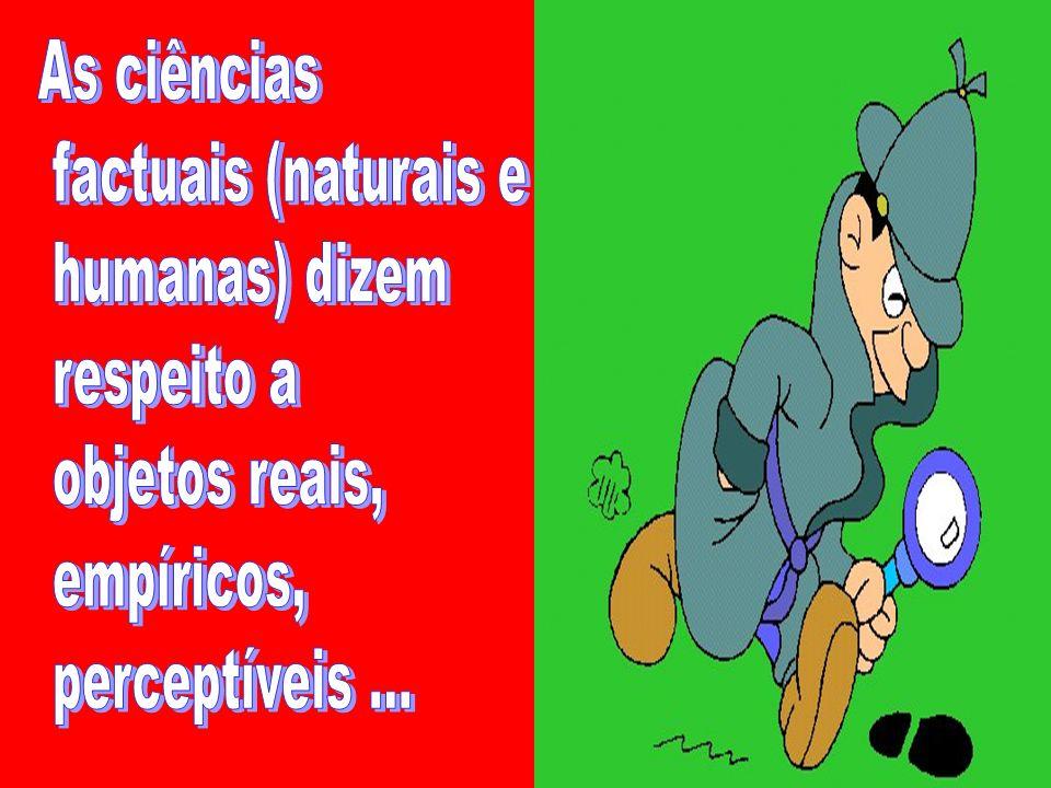 As ciências factuais (naturais e. humanas) dizem.