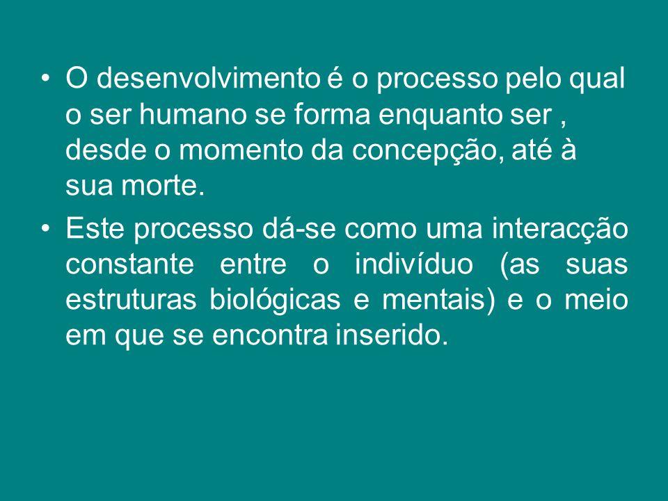 O desenvolvimento é o processo pelo qual o ser humano se forma enquanto ser , desde o momento da concepção, até à sua morte.