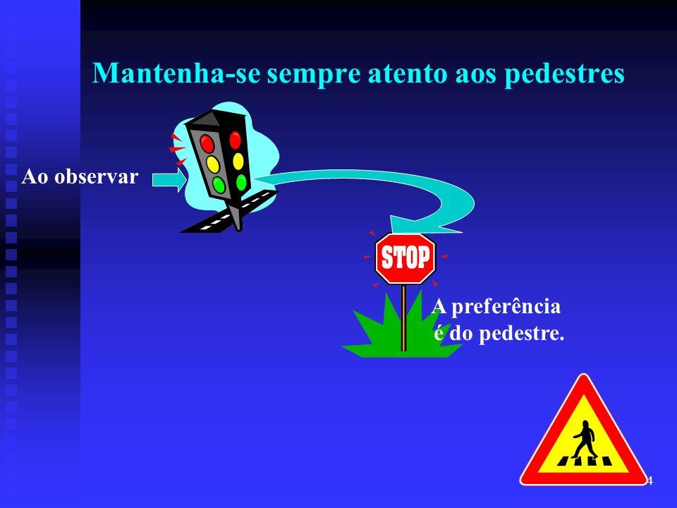Mantenha-se sempre atento aos pedestres