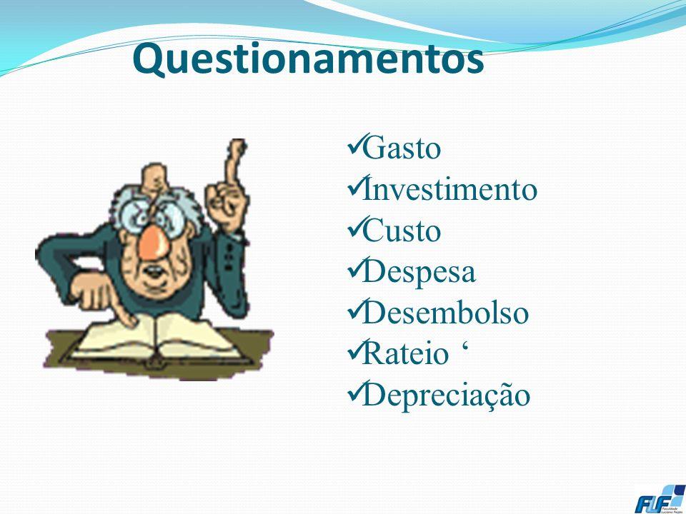 Questionamentos Gasto Investimento Custo Despesa Desembolso Rateio '
